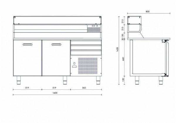 Studio54 - Teguila SP602D+3 - Pizza előkészítő pult
